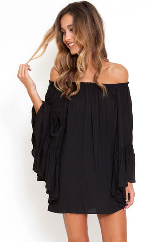 Black Exquisite Chiffon Her Mini Dress