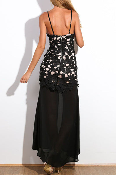 Black Floral Applique Maxi Dress