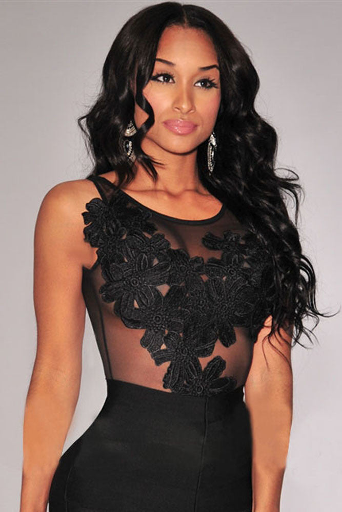 Black Floral Embroidered Sheer Mesh Bodysuit