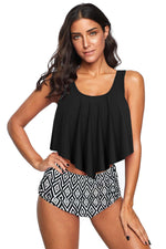 Cute Floral Print HHF Swimsuit Crop Ruffled Overlay High Waist Tankini