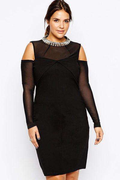 Black Gold-Shoulder Plus Size Dress with Rhinestones