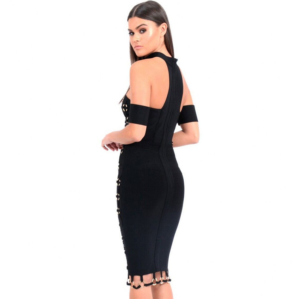 Black Halter Cap Sleeve Metal Embellished Weaved Trendy Bandage Dress
