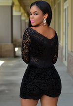 Black HerFashion Lace Overlay Off-shoulder Romper