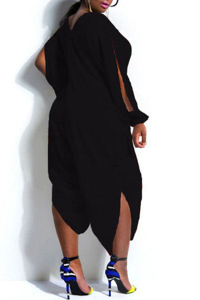 Black HisandHerFashion Trendy V-Neck Long Sleeve Cut Out Plus Size Jumpsuit