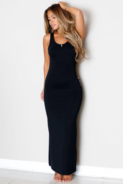 Black Hollowed Back Her Maxi Jersey Dress