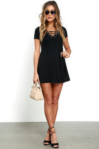 Black Lace-Up V-Neck Swing Dress