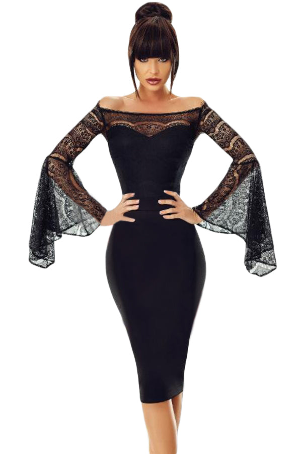 Black Lace Bell Sleeve Off Shoulder Her Fashion Bodycon Party Dress
