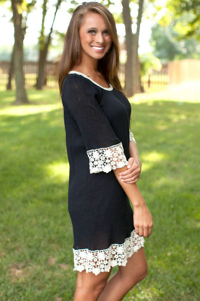 Black Lace Crochet Trim Crepe Mini Dress