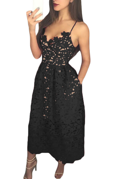 Black Lace Hollow Out Nude Illusion Her Fashion Party Midi Dress