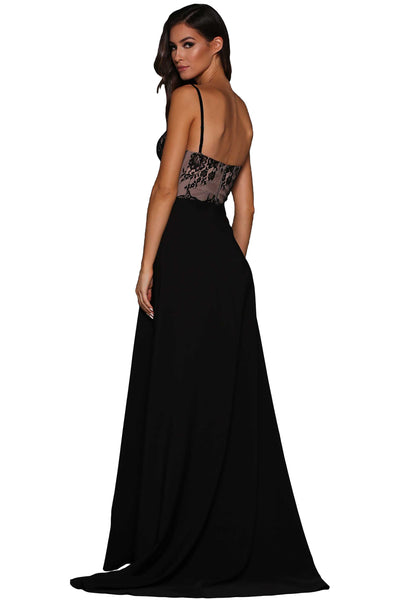 Black Lace Illusion Top High Slit Her Trendy Evening Dress