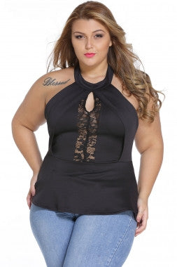 Black Lace Insert Zipped Big'nTrendy Peplum Top