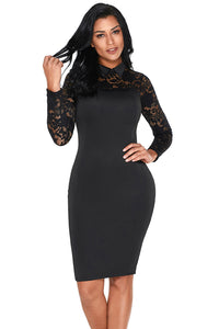 Black Lace Sleeve Doll Collar Bodycon Retro Her Fashion Midi Dress
