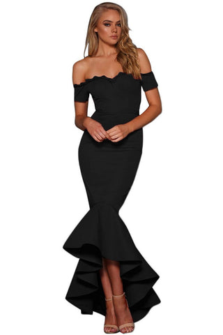 Black Lace Trim Her Fashion Off Shoulder Chic Mermaid Party Dress