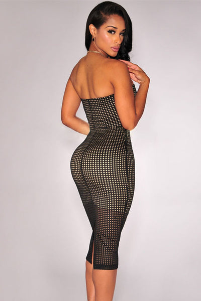 Black Laser Cut Nude Illusion Strapless Women Dress