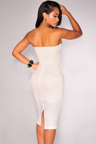 White Laser Cut Nude Illusion Strapless Women Dress