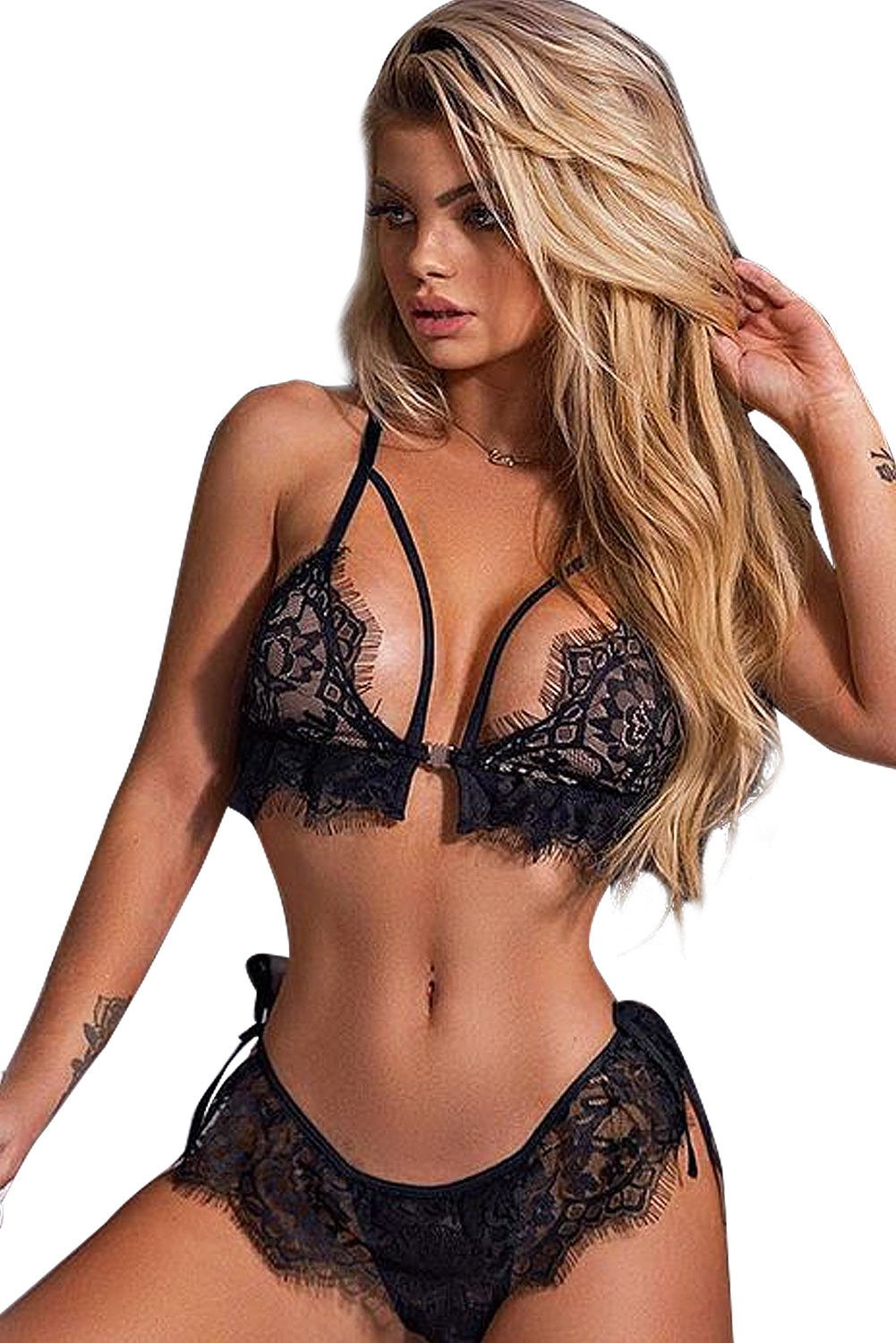 Black Lingerie Eyelash Trim Lace Her Fashion Charming Bralette Set