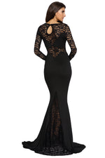Black Long Lace Sleeve Mermaid Princess Prom Dress