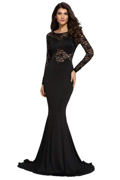 Black Long Lace Sleeve Mermaid Princess Prom Dress ...