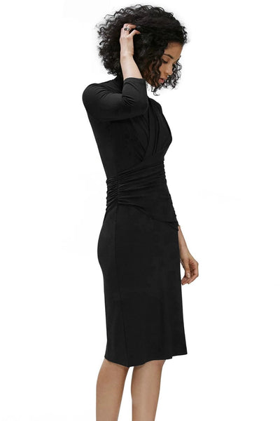 Black Long Sleeve Pleated Wrap Her Fashion Bodycon Midi Dress