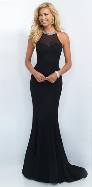 Black Mermaid Crystal Beading Crew Neck Her Prom Dress
