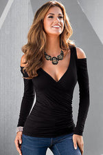 Black Modern Cold Shoulder V Neck Long Sleeve T-shirt