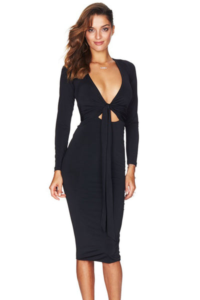 6f56ca1f7b49 Black Multi-way Deep V Neck Knot Tie Long Sleeve Her Bodycon Midi Dres –  HisandHerFashion.com