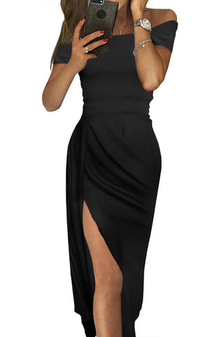 Black Off Shoulder Her Fashion Short Sleeve Party Dress