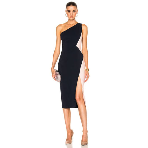 Black One Shoulder Sleeveless Her Fashion Party Bandage Dress