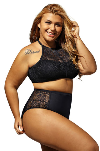 Black Patterned Mesh Big'n'Bold Plus Size Swimwear