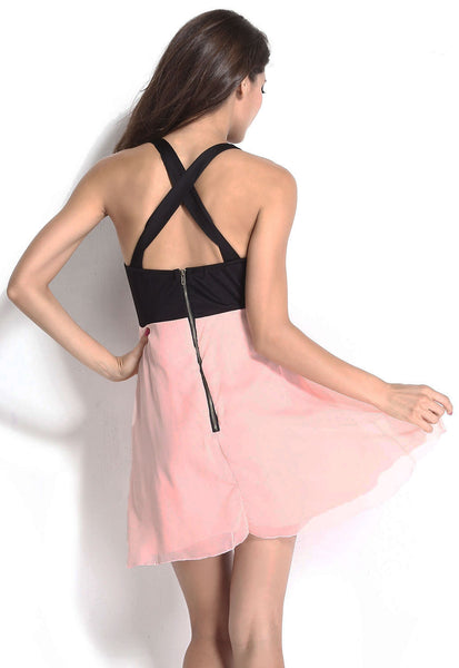 HisandHerFashion Black Pink Halter Top With Rhinestones Detailed Dress