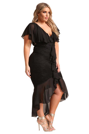 Black PlusSize Chiffon Lace Waterfall Ruffle BIG'n'TRENDY Midi Dress