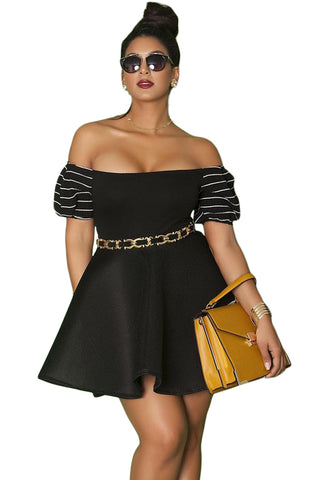 Black Plus Size Fashion Pleated Off-the-shoulder Trendy Skater Dress