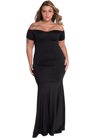 Black Plus Size Off Shoulder Fishtail Her Maxi Dress