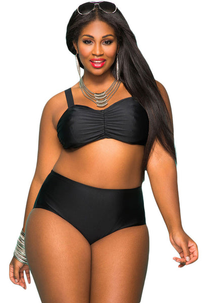 choose official distinctive style how to buy Black Plus Size High Waist Sweetheart Neckline Bikini Swimsuit
