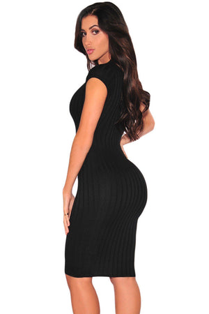 Grey Ribbed Jersey Fabric Plunge V Neck Ribbed Her Bodycon Dress