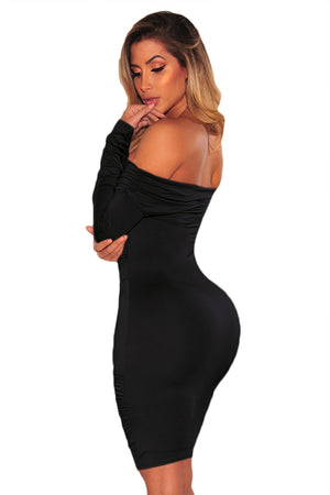 Black Ruched Off Shoulder Long Sleeves Her Fashion Bodycon Dress