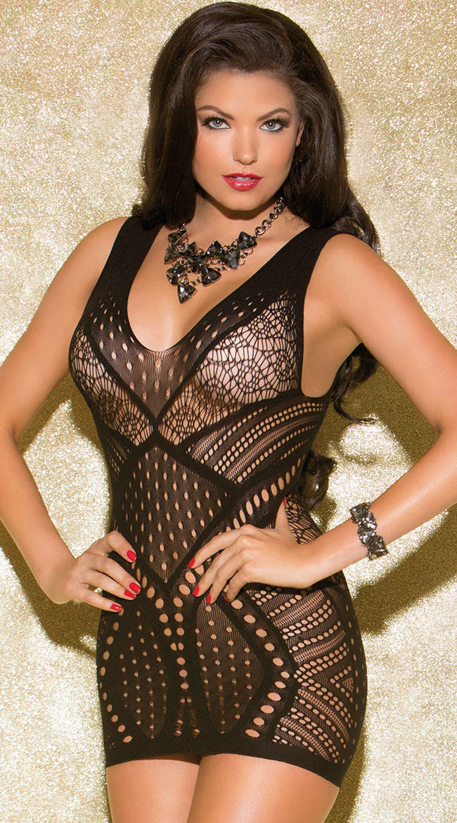Black Seamless Hollow-out Multiple Patterns Babydoll Chemise