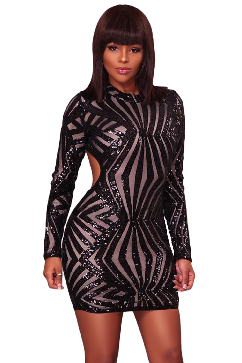 Black Sequin Detail Open Back Party Her Fashion Mini Dress