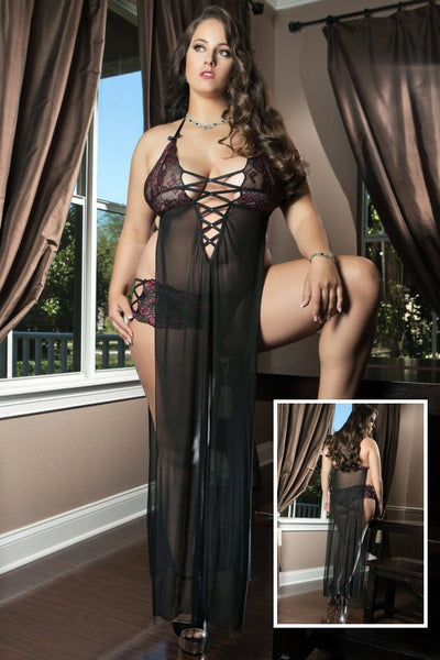 Plus Size Black Sexy Sheer Side Slits With Lace Cups Lingerie Gown