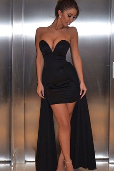 Black Sexy V Neck Her Party Evening Dress
