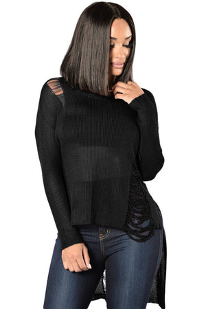 "Black Sheer Knit Distressed Detail  Sweater ""Limited Edition"""