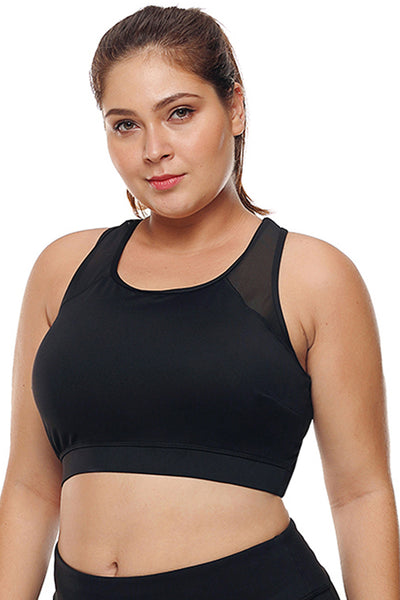 Fuchsia Sheer Mesh Back Her Fashion Active Plus Size Sports Bra