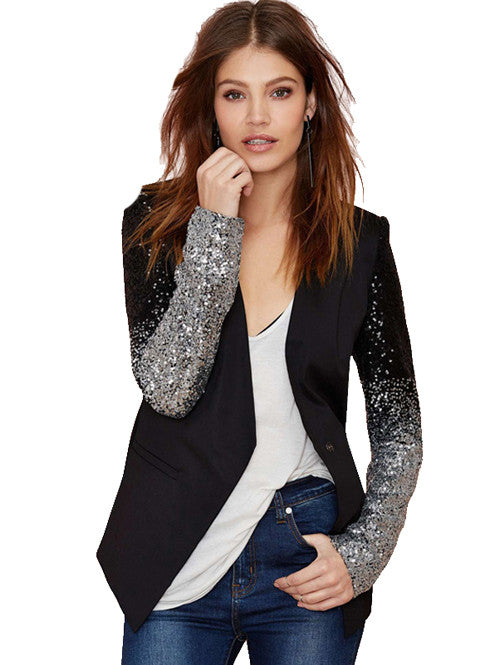 Black Silver Long Sleeve Button Gradient Sequin Sleeve PU Trim Blazer