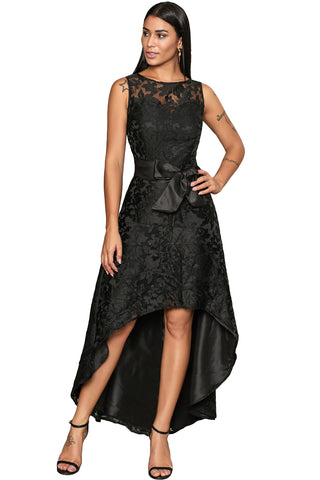 Black Sleeveless Lace Overlay Bow Sash Her Fashion Party Dress