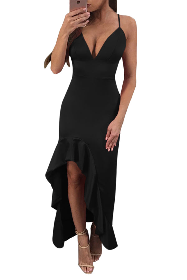 Black Spaghetti Straps V Neck Backless Her Fashion Ruffle Dress