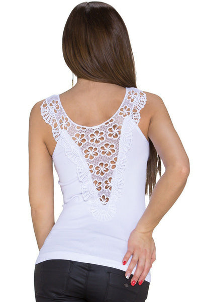 White Trendy Tank Top Lace Back Stretch Round Neck Top