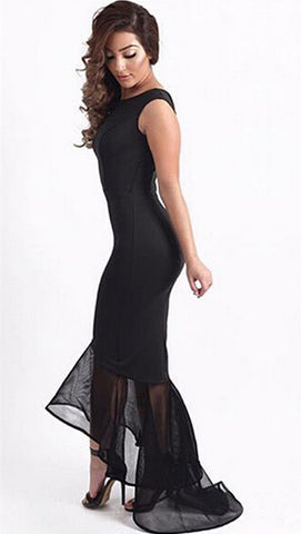 Black Tulle Fishtail Sleeveless gown mermaid Party Dress