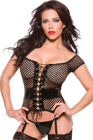 Black Vinyl Fishnet Bustier and Garter Belts