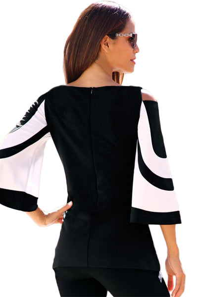 Black White Bell Sleeve Her Fashion Cold Shoulder Modern Top