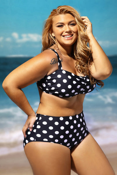 Black and White Print Ruched Top High Waist Big'n'Bold Plus Size Swimsuit